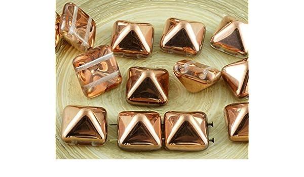 8pcs Pyramide Stud 2 deux TROU TCHÈQUE PERLES DE VERRE 12 mm 12 mm