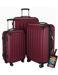 Hauptstadtkoffer® Set di valigie 49+82+128 litri con un lucchetto TSA Seria SPREE (Colore Borgogna con 1 ciondolo per la valigia)