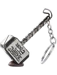 MK Thor Hammer Marvel Avengers Superhero Silver Metal Ring Key Chain