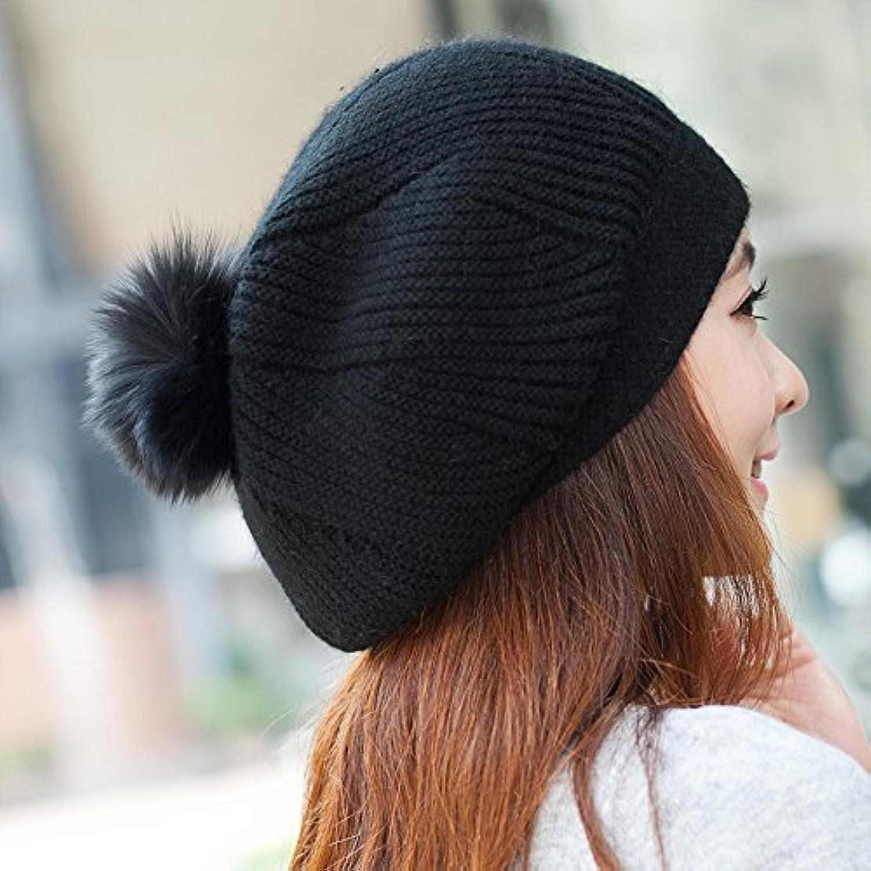 Donne ragazze berretto cappello di berretto maglia donna invernale caldo  berretto di con pom pom Bobble 572561bf9562