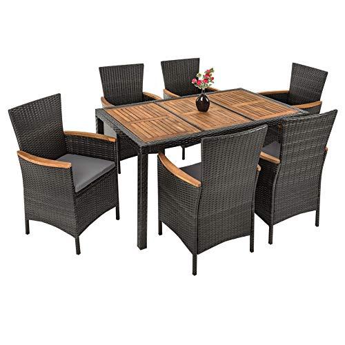 Polyrattan   Akazienholz   Sitzgruppe Modell Kist, Rattan Essgruppe Set,  Gartenmöbel (6 Stühle, Grau)
