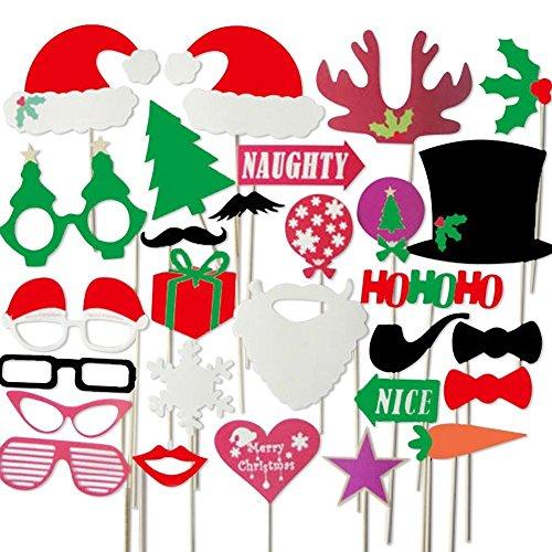 Veewon 28pcs di Natale Photo Booth Supporti e Photo Booth accessori favore per Decorazioni di Natale del partito