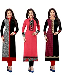 Hari Enterprise Women's Cotton Semi-Stiched Kurti - Pack of 3 (1002.1017.1015 A, Multicolour, Free Size)