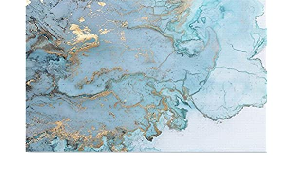Wh Porp Luxurious Gold Print Blue Texture Marble Wallpaper