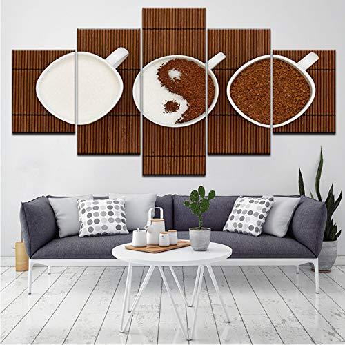 syssyj (Kein Rahmen) Modulare Leinwand Malerei Wandkunstwerk Bilder Für Wohnzimmer 5 Panel/Set Gedruckt Auf Kaffeebohnen Wanddekor Hd Poster