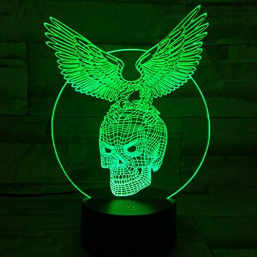 Halloween Geschenk Bar 3D Nachtlicht 7 Farben Ändern LED Schreibtisch Tischlampe Acryl Illusion Schädel Flügel Atmosphäre Lichter -