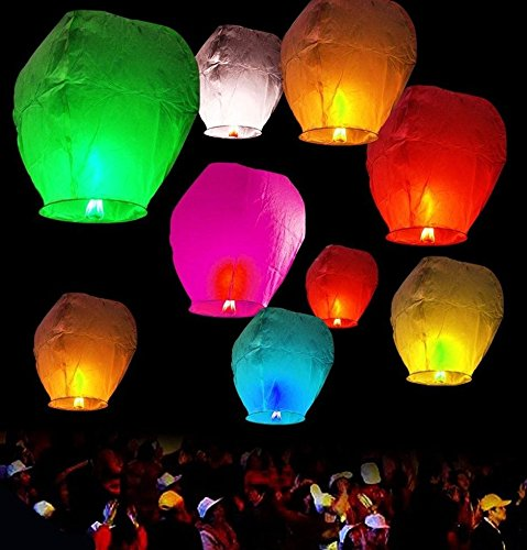 Funcart Colourful Sky Lantern -Pack of 4