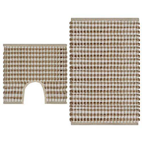 Festnight- Handgewebtes Badematten Set 2tlg | Badematte und WC Vorleger | Badezimmer Teppich | Badvorleger | Natur und Weiß/Schwarz Jute Stoff | 52x83 / 50x52 cm - Natur-badezimmer-teppich