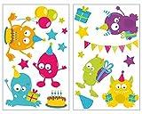 plot4u 18-teiliges Monster Geburtstag Wandtattoo Set Kinderzimmer Babyzimmer in 5 Größen (2x41x66cm mehrfarbig)