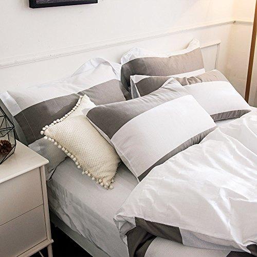 Merryfeel Bettwäsche-Set 2-3 teilige, 100% Baumwolle Garn gefärbt Bettbezug & Kissenbezüge – Grau - 3