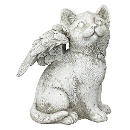 Design Toscano Geliebter Freund, Tier-Grabfigur Katzenengel, Mittelgroß, Kunstharz, Elfenbein, 9 x 11.5 x 14 cm (Geliebte Tiere)