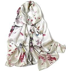 Dooppa Dama Mujeres 100% Natural Seda de morera Suave Estampado de moda Bufandas Cuello floral Bufanda Envoltura Sarong Antialérgico Protección de cuello (varios colores) - Todas las estaciones