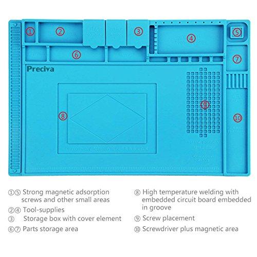 Almohadilla de trabajo Silicona Aislamiento,Preciva 45x 30cm work pad resistente al alta temperatura - 50- 500 ° para reparar la computadora portátil, móvil, Cámara, etc