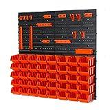 45 teiliges Wandregal Lagerregal Werkzeugwand Stapelboxen Gr.2 orange + Halterung + Wandplatten Werkzeug POP Serie