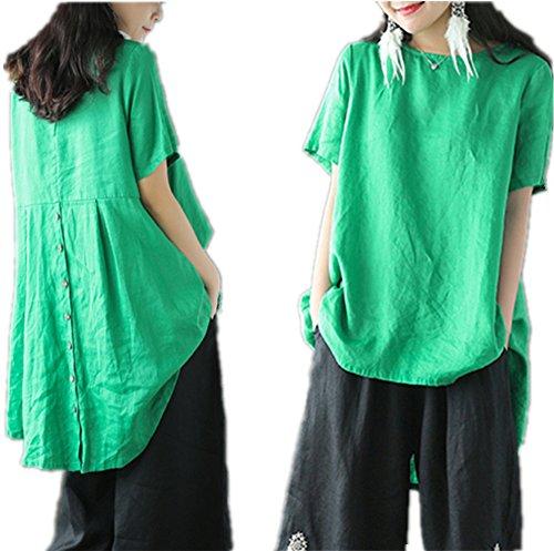 Yesno Damen Bluse Gr. X-Large, grün (Dolman Printed Top Sleeve)