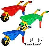 alles-meine.de GmbH 2 Stück _ Schubkarren -  BUNTER Farbmix - mit extra Ablage  - aus Kunststoff - mit Plastik Reifen & Kunststoffwanne - Gartenwerkzeug -  KNACKS Sound  - Ki..