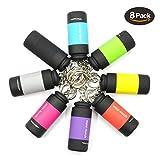 Mini Llavero USB Portatil de UCEC, Linterna Recargable LED Con USB Para Uso de Aire Libre, Camping, Pack de 8 Colores Diferentes