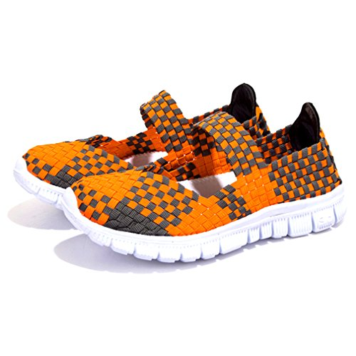 Blivener - Scarpe da scogli/da ginnastica confortevoli da donna in leggero tessuto elastico intrecciato senza chiusura Orange