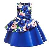 Livoral Blumenbabyprinzessin-Brautjungfernschönheitskleidgeburtstagsfeier-Hochzeitskleid(Blau,110)