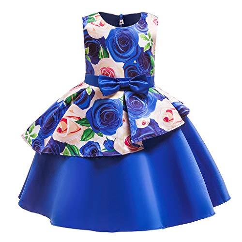 Quaan BlumenbabyPrinzessin Bridesmaid Pageant Gown Birthday Party Wedding Dress Mädchen ELSA Kleid Kostüm Eisprinzessin Set aus Diadem, Handschuhe, Zauberstab