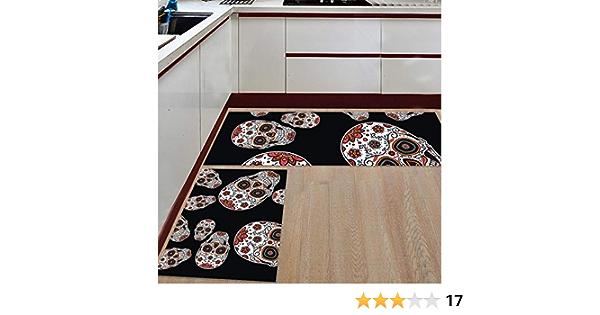 2 Piece Non-Slip Kitchen Mat Rubber Backing Runner Rug Set,Kids Area Rug Carpet Bedroom Rug Sugar Skull Festive Graveyard Mexico Ritual Figures Mask Design on Black Backdrop,15.7x23.6in 15.7x47.2in