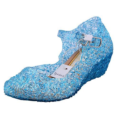 Tyidalin Niña Bailarina Zapatos de Tacón Disfraz de Princesa Zapatilla de Ballet Para 3 a 12 Años Azul EU28-33 (EU 26(Talla del Fabricante 28))