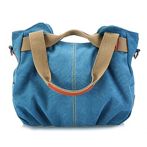 Casa einfach Stil Damen Mädchen Handtasche Canvas Umhängetasche Handtasche Shoppingtasche Shopper Schultertaschen Blau