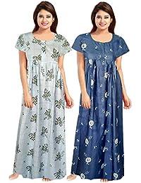 Afreet Fashion Women Cotton Gown Sleepwear Nightwear Maxi Soft Night Suit Cotton (Multicolor) Combo Pack of 2 Peice