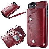 Slynmax Coque iPhone 7 Plus/8 Plus Rouge Coque iPhone 8 Plus [Un Stylo Tactile et Une Corde] Mode Luxe Portefeuille Coque Housse Etui de Protection Porte-Carte de Crédit en Cuir iPhone 7 Plus/8 Plus