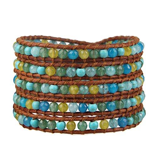 KELITCH Blu multicolore Naturale pietra preziosa Turchese Giada Agata Mescolare Perlina 5 Wrap Fatto a mano Polsino Bracciali Gioielli