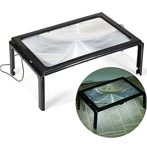 pliable Desk A4pleine page Grande géante mains libres 3x Loupe en verre avec 4lampes LED pour la lecture