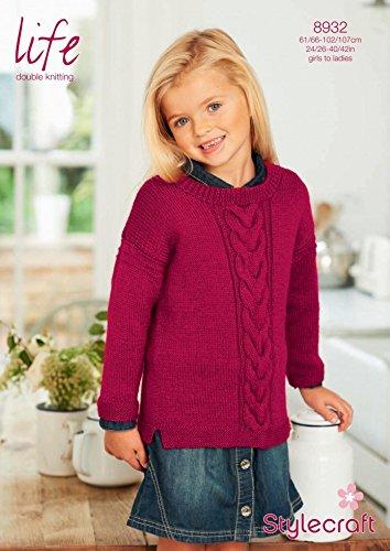 Kabel Stricken Pullover Muster (Stylecraft Kinder und Damen Pullover mit Kabel Muster Life Strickmuster 8932DK)
