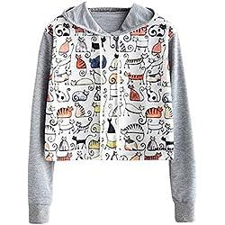 Lenfesh Mujeres Blusa con Manga Larga Kawaii Sudaderas con Capucha Camiseta de Manga Larga Sudaderas Estampado de Gato con Capucha