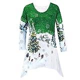 IZHH Damen Tops Damenmode Weihnachten Hemd Tunika Woodland Winter Szene Bluse Damen Weihnachten Print Lässige Top T-Shirt Pullover Tops Tunika Blusen Sweat-Shirts T-Shirts(Grün,X-Large)