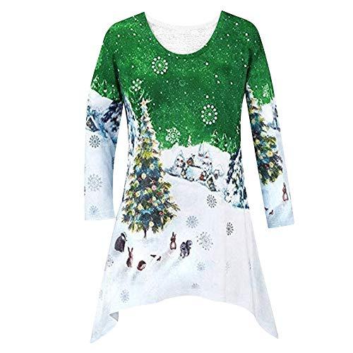 JUTOO Damenmode Weihnachten Hemd Tunika Woodland Winter Szene -