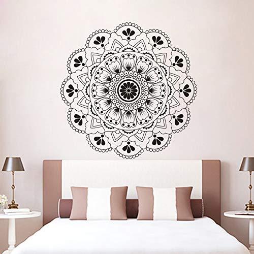 Mandala Wandaufkleber Meditation Stil Wandkunst Aufkleber Zeremonie Objekt Schlafzimmer Dekoration Mandala Blume Vinyl Wandtattoo 102x102cm -