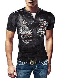 e5963539d623e9 Violento Herren Designer T-Shirt Poloshirt Baumwolle Party Sommer Hemd Slim  FIT
