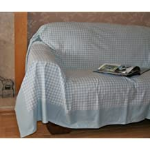 Homescapes Couvre lit - Couverture, 1 ou 2 personnes (200 x 150cm). Pur coton ULTRA DOUX. Couleur BLEU BLANC