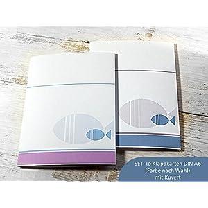 SET: 10 x Klappkarte Kommunion, Konfirmation, Taufe für Einladung, Danksagung, Menü, blau-grau Fisch