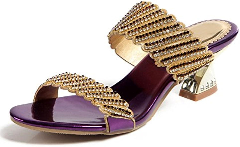 XIE Zapatillas de Diamantes de Imitación de Mujer de Verano Llevan Diamantes Púrpuras de Tacón Medio con Zapatos...
