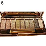 Konbuos 9 Farben Glitter Lidschatten-Palette Make-up Hochpigmentierte langlebige wasserfeste Kosmetik mit Pinsel
