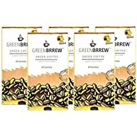 Greenbrrew Healthy Natural Lemon Instant Unroasted Green Coffee Beans Extract Powder Sachets Weight Loss Management, Reduces Blood Pressure - each pack 60g (20 Sachets PP) - Pack of 5