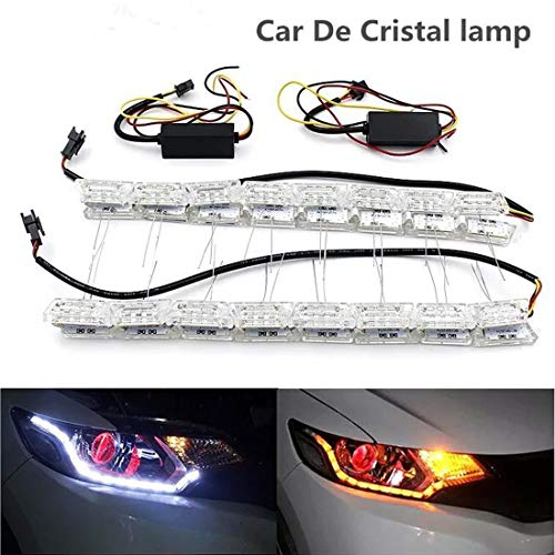 Luz LED diurna para coche, luz LED de giro, tira de luz individual, faros delanteros, faros antiniebla para coche, flexible, doble color, color blanco/ámbar, tira DRL, paquete de 2