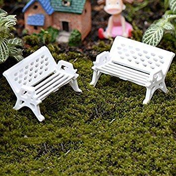 Nalmatoionme weiß Mini Park Sitz Bench Garten Ornament Garten-Requisiten (groß)