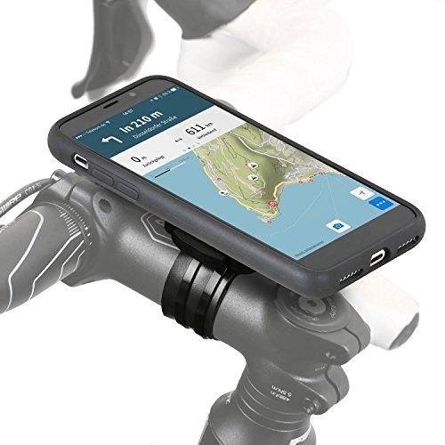 QuickMOUNT Fahrrad Halterung kompatibel mit iPhone XS / X, Lenker / Vorbau Befestigung mit Rain Case und Schutzhülle für Apple iPhone X / XS MTB Rennrad Motorrad Navigation (5,8 Zoll, schwarz) -