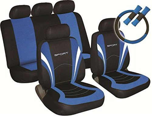 XtremeAuto® 10991 + keyring Sports Style Car Seat Covers Blue And Black Complete With Sticker