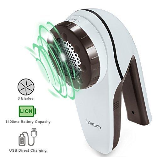 Fusselrasierer Elektrischer Fusselentferner von HOMEASY USB Aufladbare Fusselfräse mit Starkem Motor für Kaschmire Wolle Flanell...