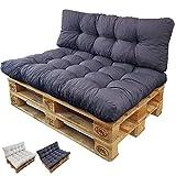 Palettenkissen Set Basix - Sitzkissen 120 x 80 x 15 cm und Rückenkissen 120 x 40 x 7/17cm - Palettenauflagen Komplett-Set - Sitzpolster, Farbe:Anthrazit