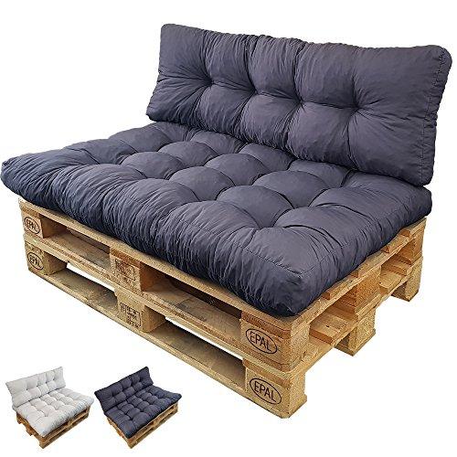 Palettenkissen Set Basix - Sitzkissen 120 x 80 x 15 cm und Rückenkissen 120 x 40 x 7/17cm - Palettenauflagen Komplett-Set - Sitzpolster, Farbe:Anthrazit (Gesteppte Euro Kissen)