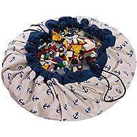 Preisvergleich für Spielzeug Aufbewahrungstasche, Kinder Spielmatte 55 Zoll Faltbare Baby Kinderteppich, Tragbare Kind Spielzeug Organizer Für Play & Quick Collection & Lagerung von Spielzeug Wie Legos, Dupla, Etc.